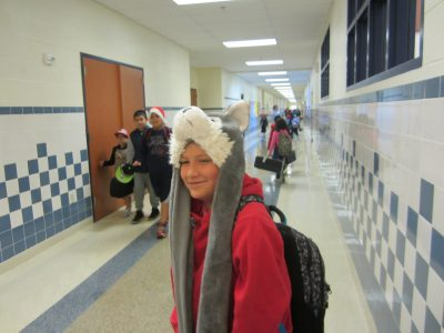 Student wearing hat