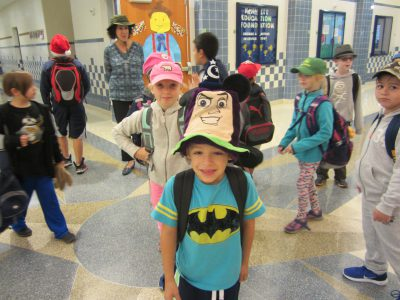 Students wearing hats