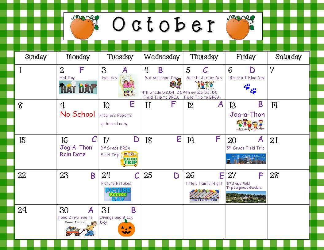 school calendar bancroft elementary school