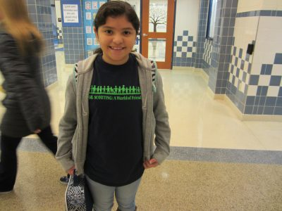 Student wearing words