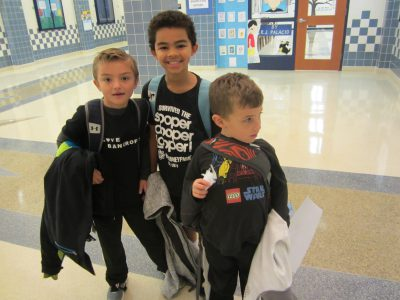 Students wearing words