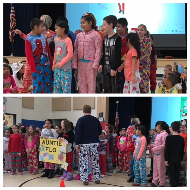 Students singing at school wide morning meeting