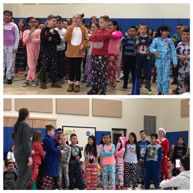 Students reciting at school wide morning meeting