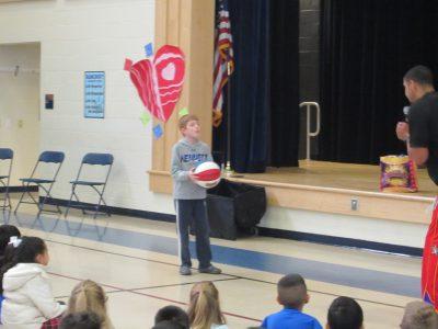 Bancroft student playing basketball