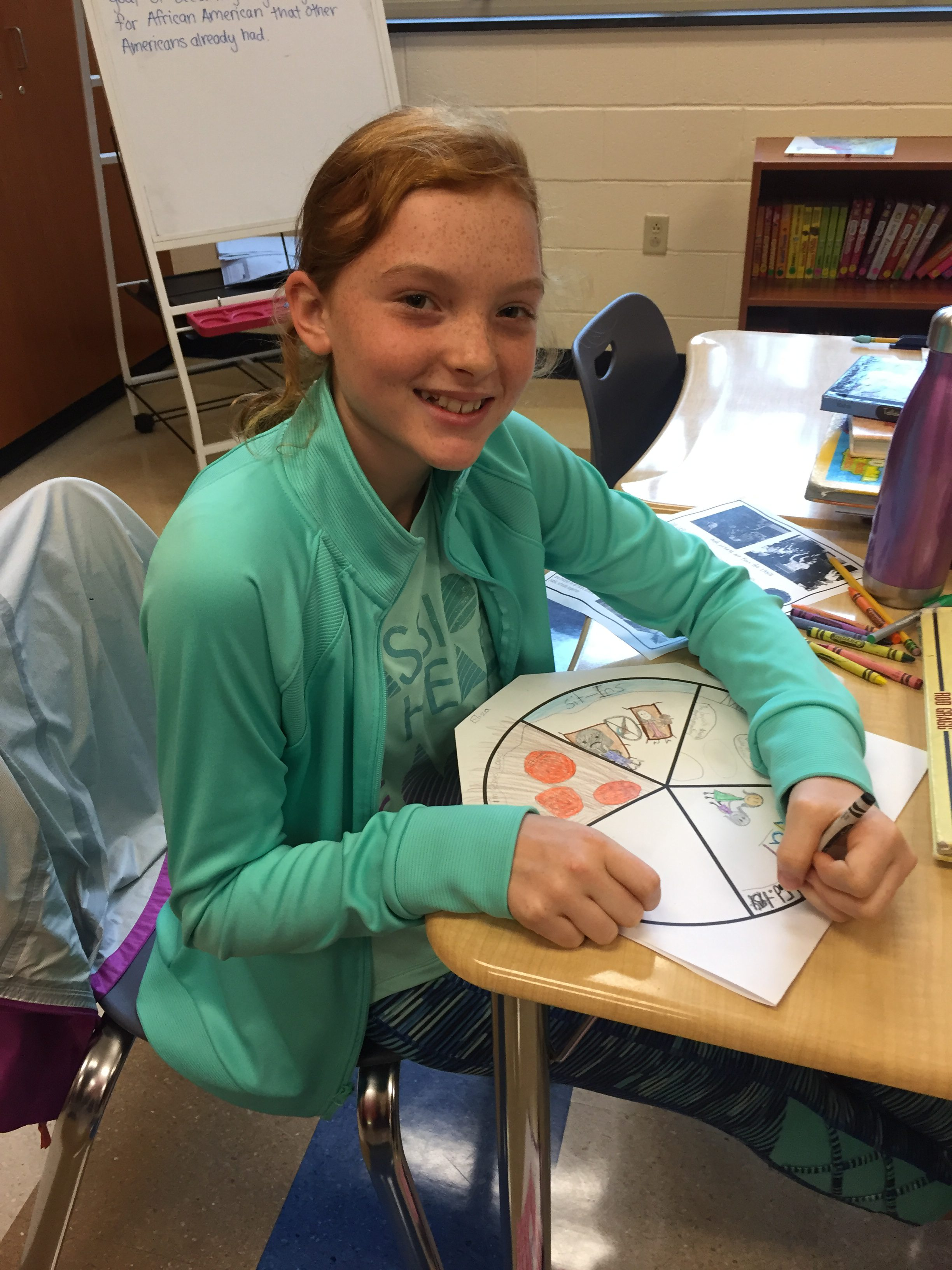 student working on pie chart