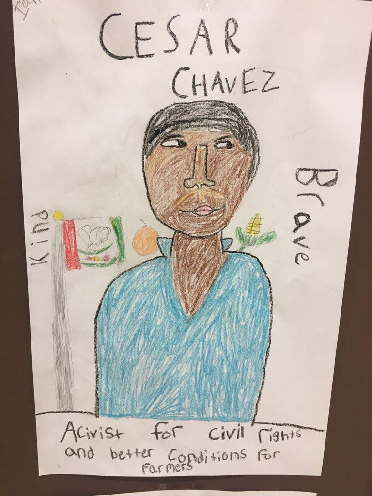 student drawn art Cesar Chavez