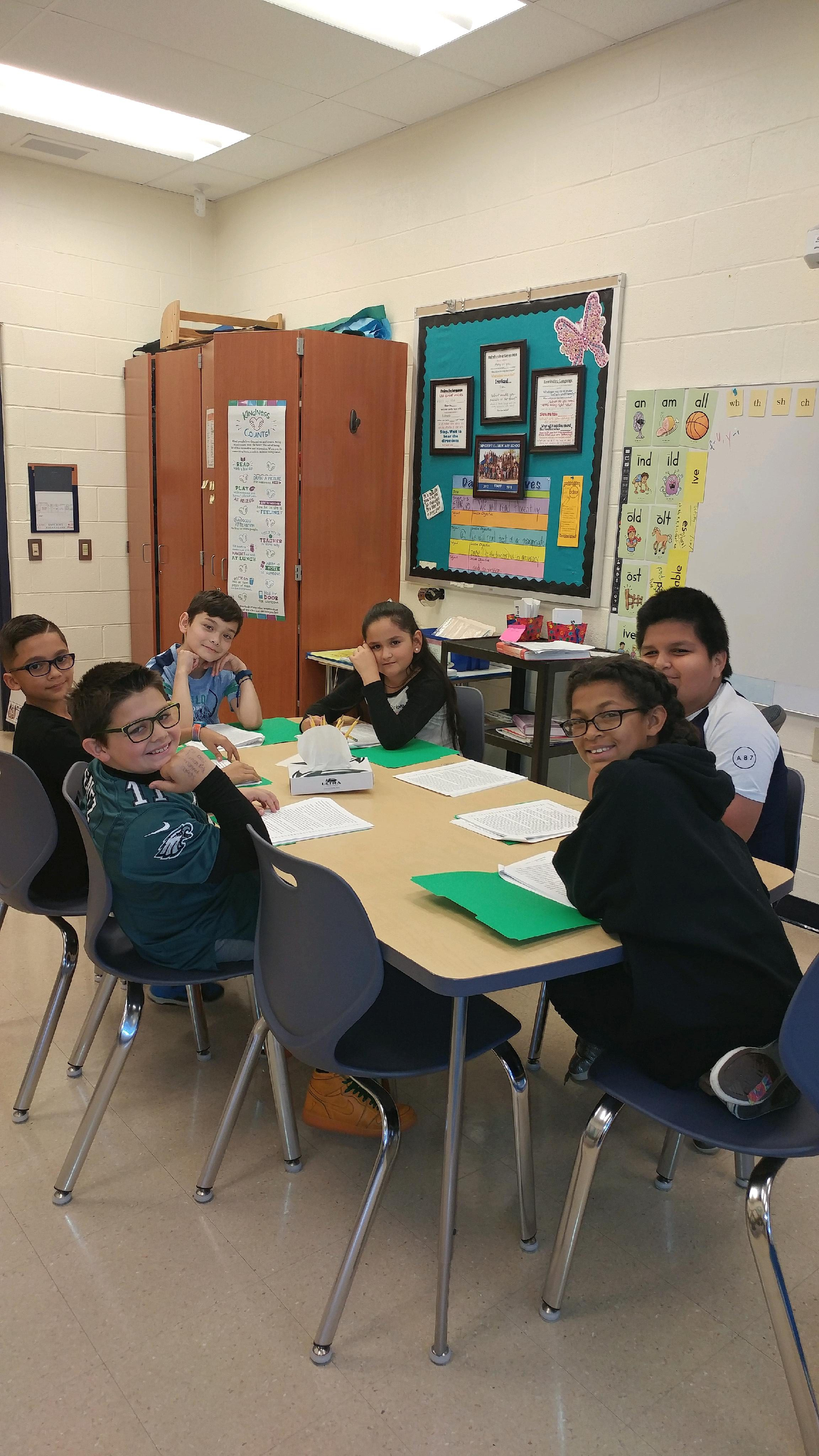 group of students at a table