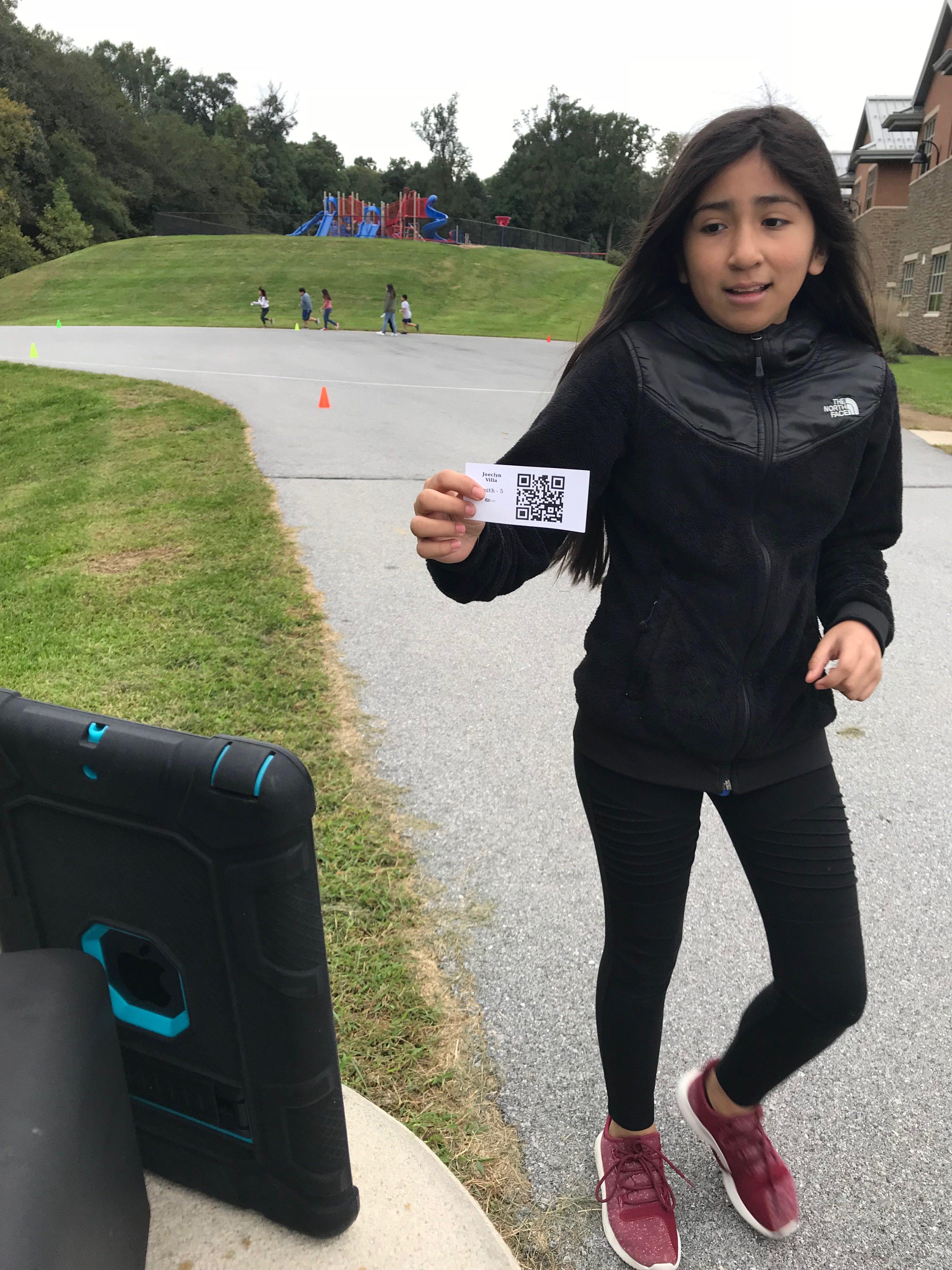 student scanning ticket