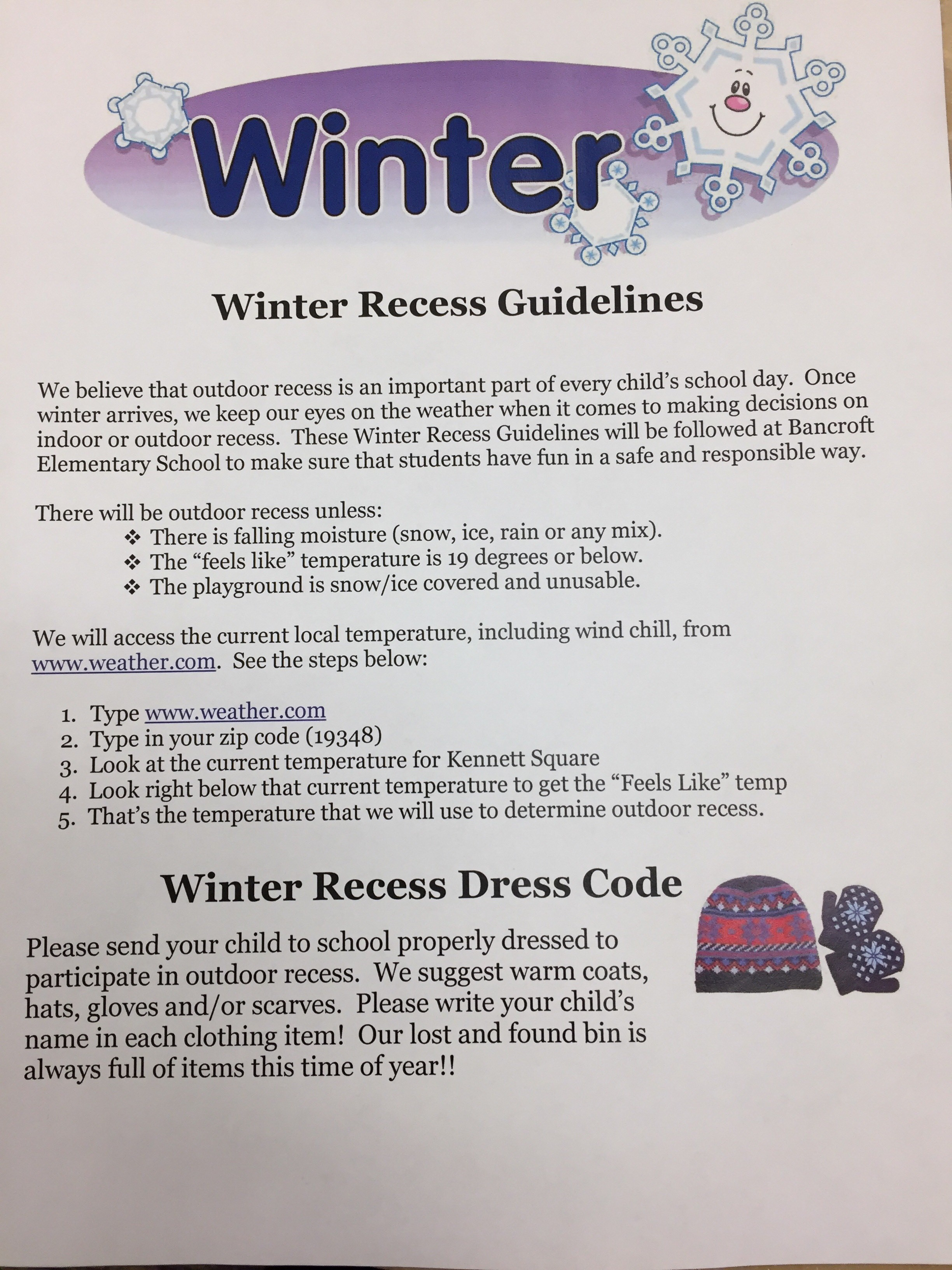 winter guidelines in english