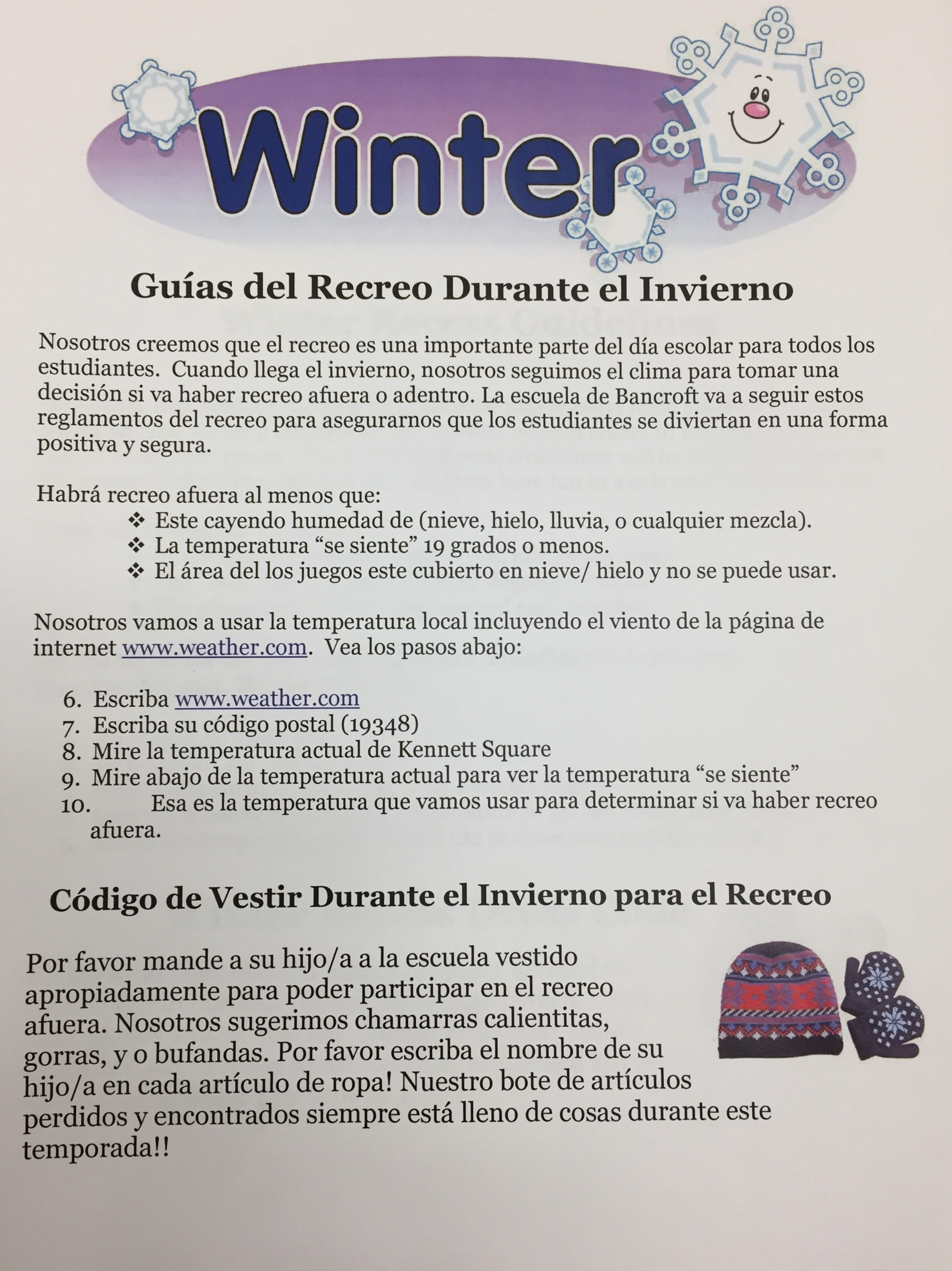 winter guidelines in spanish