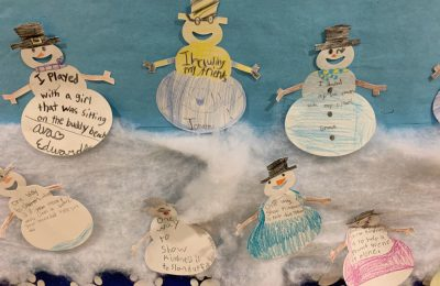paper snowmen on bulletin board