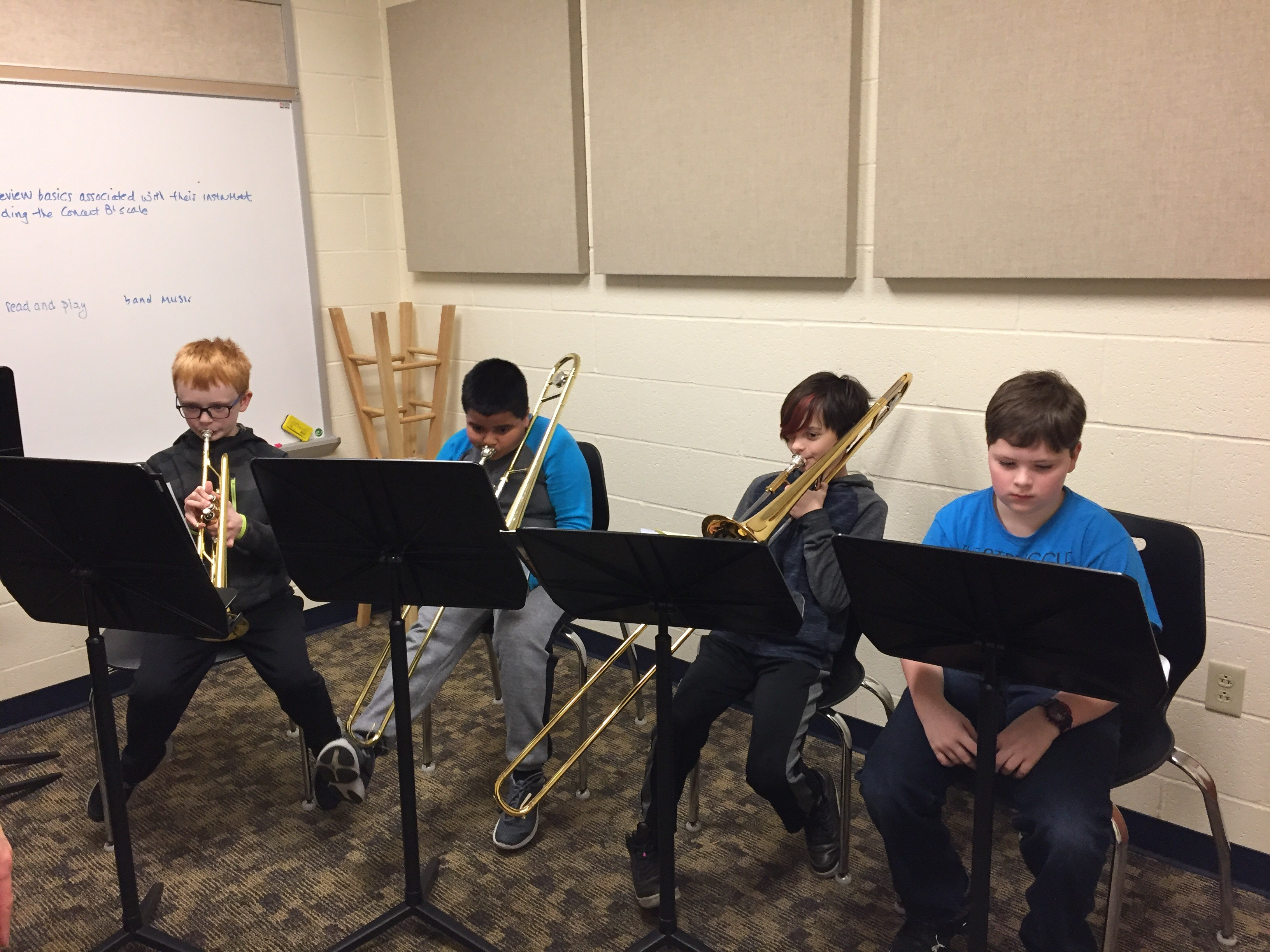 students practicing their instruments