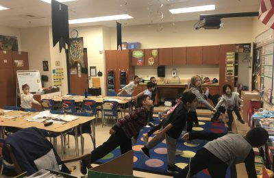 students practicing yoga